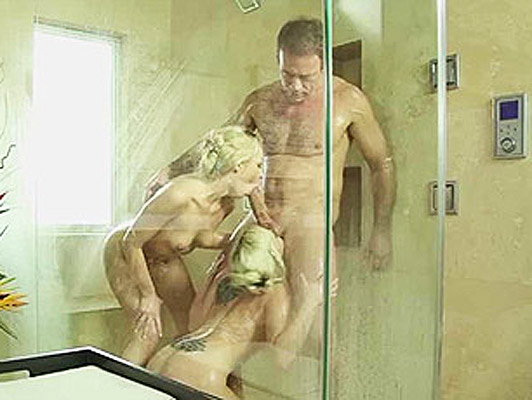 Rocco Siffredi fucking with two breathtaking blondes with big tits in the shower
