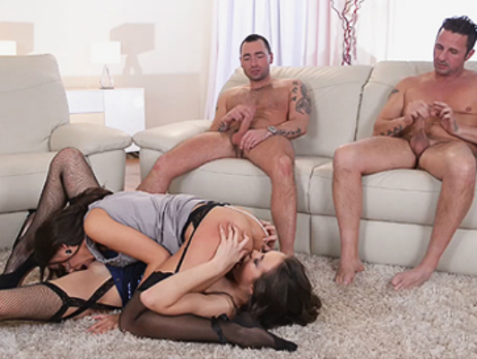 Foursome with two friends and very naughty lesbian sluts