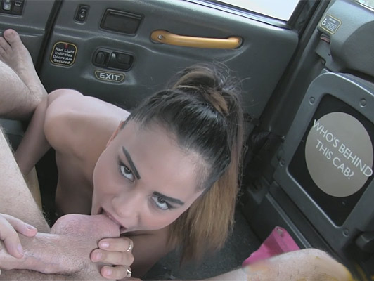 Tourist girl fucks and bite the balls to a taxi driver to pay the race let it cum on her face