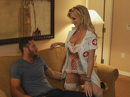 Busty blonde nurse disguises to satisfy their sexual fantasy
