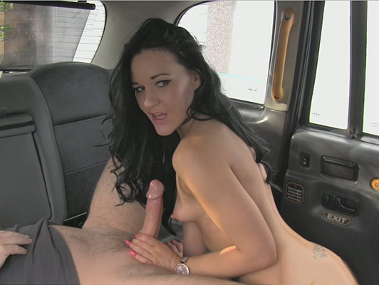 Skinny brunette doing a spectacular blowjob on a fucking cab until they run wildly in his mouth bitch