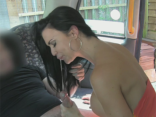 Incredible blowjob and facial cumshot with brunette with perfect tits and greedy mouth and playful in a taxi