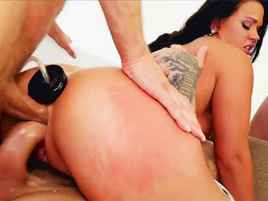 Young Roxy may have a double anal, vaginal and an inflatable dildo