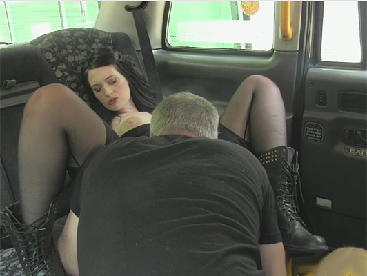 Fucking in a taxi and cream pie, with a EMO girl wearing military boots and big tits