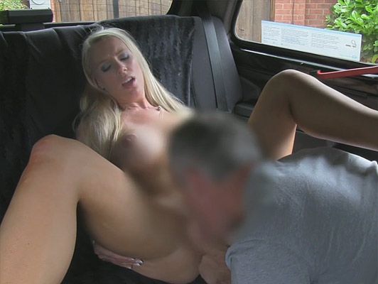Pussy sucking and fucking a busty blonde in a taxi he cum into her mouth and between her big tits