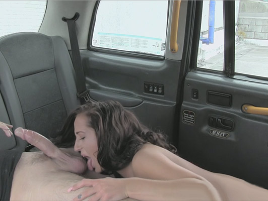 A young girl doing a spectacular blowjob, licking balls a guy in a taxi that cum inside her wet and hot pussy