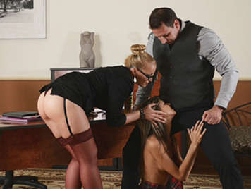 Trio of brutal sex with the teacher and the director and fucking humiliating an innocent schoolgirl whole semen from the tip of his cock swallows director