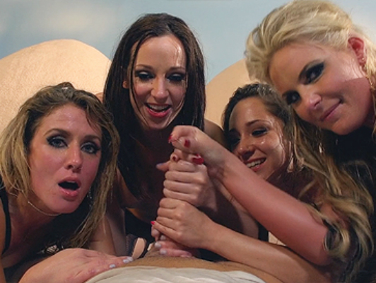 Orgy with 4 amazing girls with perfect round asses being fucked in the ass