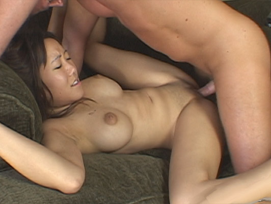 Cute busty Japanese girl with shaved pussy fucked on the couch at home with heels are cum on face and suck the semen ground with her tongue
