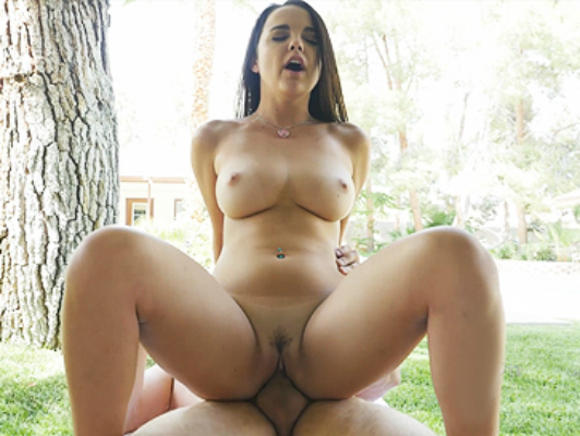 24 year old beautiful  natural  busty brunette girl   fucks a big cock outdoors.