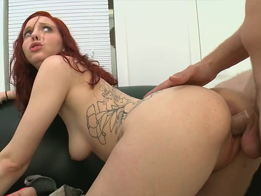 Deep and dirty anal sex with a whore redhead girl with green eyes and a perfect ass, fucked doggy style shakes her hips with cock stuck in the ass, she fills her face with a good cumshot