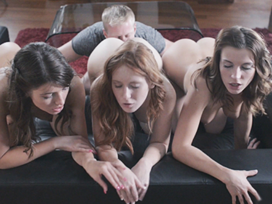 His dream is to fuck three  beautiful  young natural girls and  in this foursome