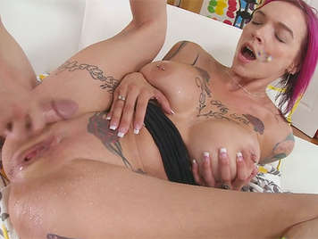 Busty mature with tattooed body and perfect ass squirts blast as he fucked pussy and rub her clitoris with cock