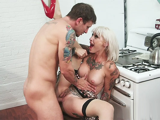 Sally sweet fucking in the kitchen his tattooed body trembles with pleasure as he felt her sweet pussy fucked with a fat hard cock