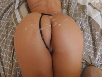 The sexy Amirah Adara fucking with a thong that fill with a cumshot of semen thick and creamy