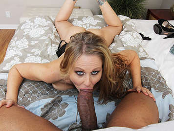 Busty milf discover the pleasures of sucking and fucking a black man with enormous cock fills her mouth with a clumpy cumshot