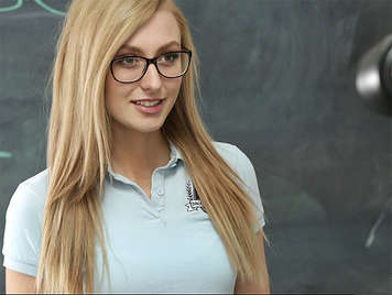 Very applied student with glasses fucking teacher