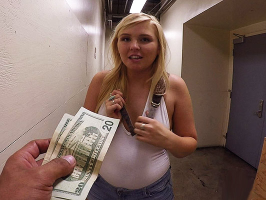 Chubby blonde with big ass for money gets screwed like a bitch on all fours