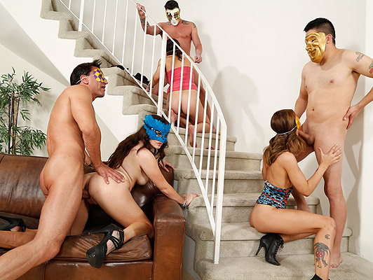 Very horny orgy between neighbors with carnival masks