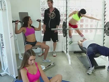 Spectacular orgy in the gym of the neighborhood with the most hot girls of the institute.