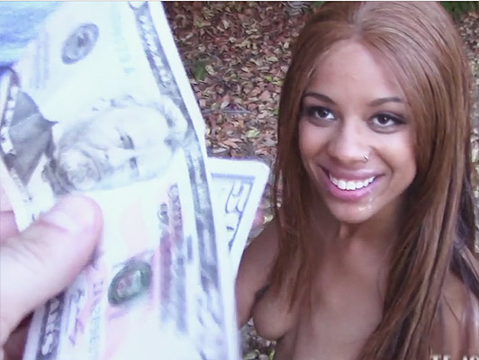 Innocent black teen girl sucking a cock for money gets fucked like a bitch on all fours and eating cum
