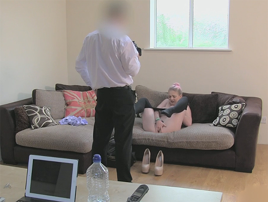 Fake porn casting to a young Englishwoman who need fast money