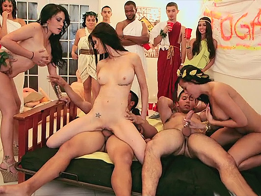 Toga party resulting in orgy of pussies and big tits covered in thick Cumshots