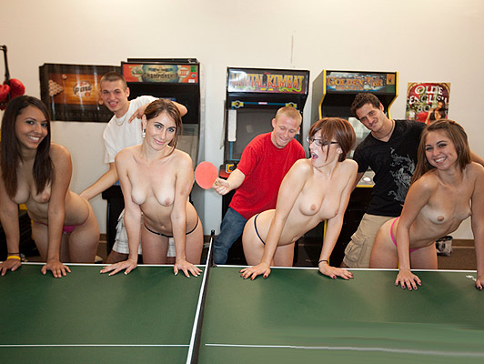 Sex games in the game room of the university residence shaking asses girls with shovels table tennis