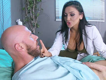 Mrs. Dr. Bitoni, fucking in the sleep clinic with a patient who has a colossal cock, and she gets a spectacular cumshot between her beautiful tits