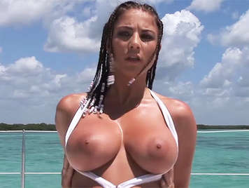 Beautiful and exuberant  Italian prostitute, with enormous and beautiful natural tits fucked in the ass in a luxury boat