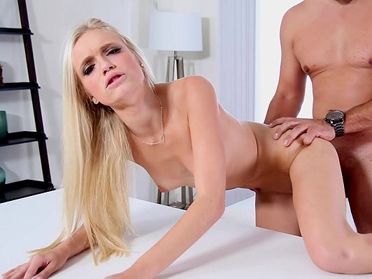 Sexy blonde teen in her first porn casting fucked all fours like a bitch