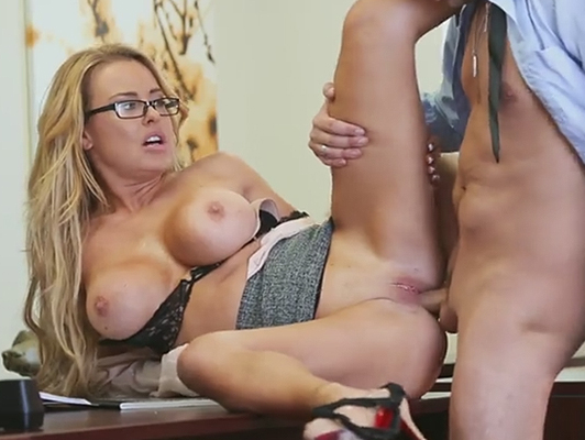 Having sex with the horniest and busty secretary of the office