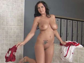 Busty fucks coach in the locker room of the university