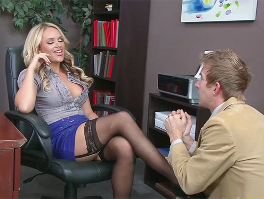 Blonde secretary, naughty and bossy, with big tits fucked on the table with a big cumshot on her face