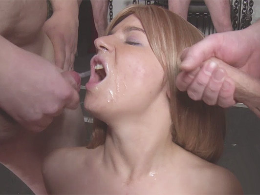 German whore girl in her first bukkake scene