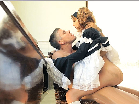 French maid teenager with a powerful brutally ass fucked with a cock stuck in her juicy pussy cum on her sweet face