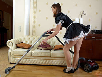 Young French maid, vacuuming wants a cock and fucking his ass banging and wipe the semen-filled balls licking