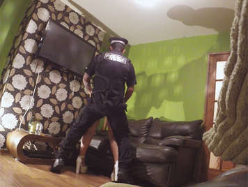 Police Officer fucks a horny housewife with big tits