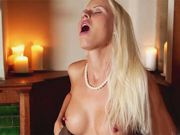 Posh sexy blonde girl with nice tits, with pearl necklace, fucking with her stepfather