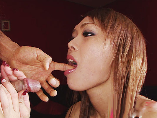 Japanese girl hooker kneeling doing a blowjob with cock between her tits until a sperm jet shoots out of cum fill their nipples