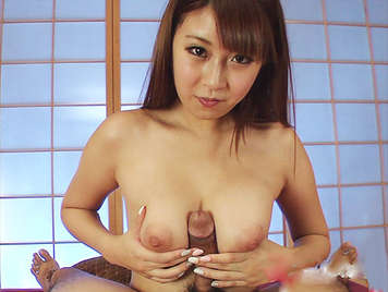 Horny little Japanese assed bitch who wants to fill her cunt with a good stream of hot semen
