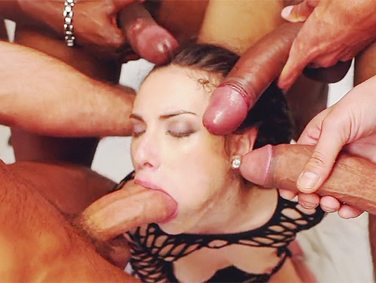 Bukkake with a horny cock sucker, hungry thick cum in her mouth