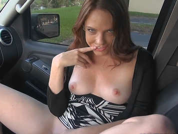 provocative babe in the car anxious about sex