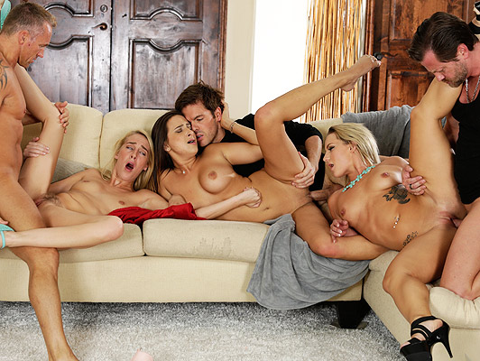 Wild sex orgy with three couples of swingers, single sex at a private orgy