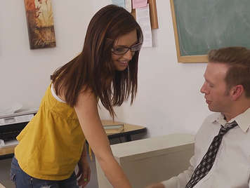 naughty student girl getting hot her teacher to fuck him in the classroom