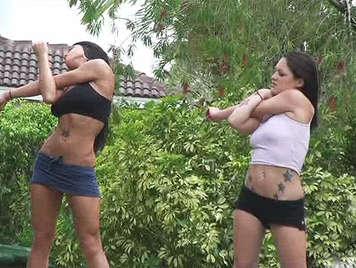 Two friends with big tits doing aerobics in the park just fucking in the house of a bastard that was spying