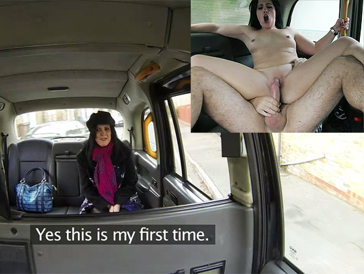 Spanish tourist bicht is newcomer to London fucked by the taxi driver who cums over her shaved pussy