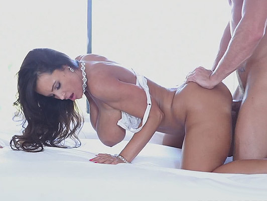 Luxuriant mature in white lingerie with big tits and perfect ass fucked on all fours