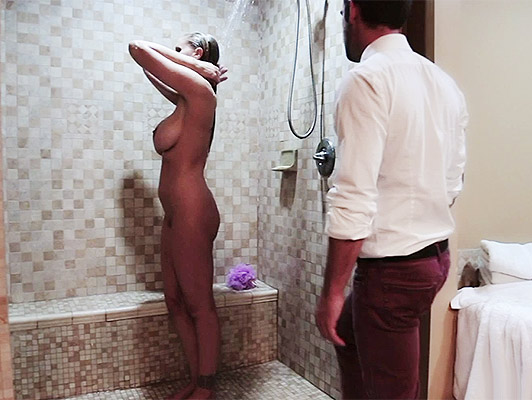 Raping his buxom mother in law who is taking a relaxing bath in the shower