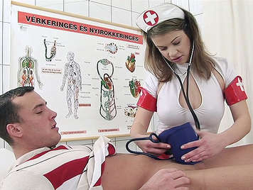 Buxom nurse offering the best treatment for swollen balls, a great blowjob to empty completely of cum in her mouth
